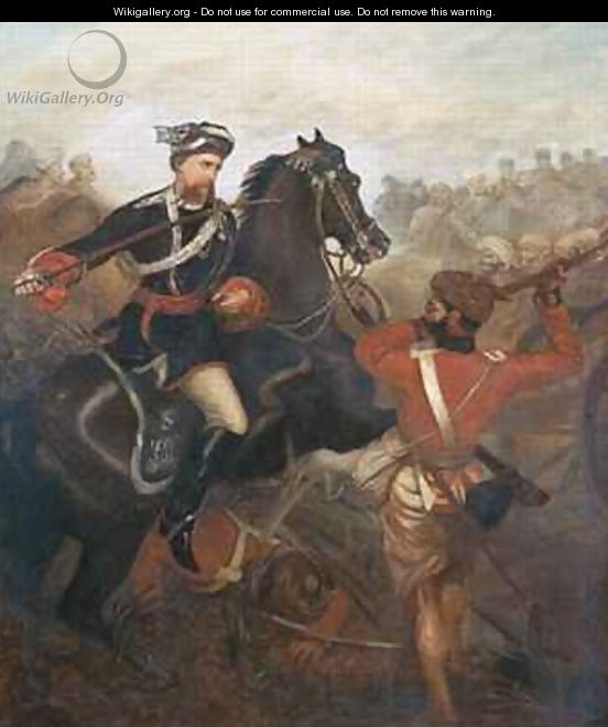 Lieutenant Frederick Robertson Aikman 1828-88 earning the Victoria Cross at Lucknow during the Indian Mutiny on 1st March 1858 - Chevalier Louis-William Desanges