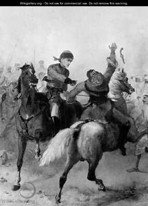 Lieutenant John Watson of the 1st Punjab Cavalry winning the Victoria Cross at Lucknow during the Indian Mutiny on 14th November 1857 - Chevalier Louis-William Desanges