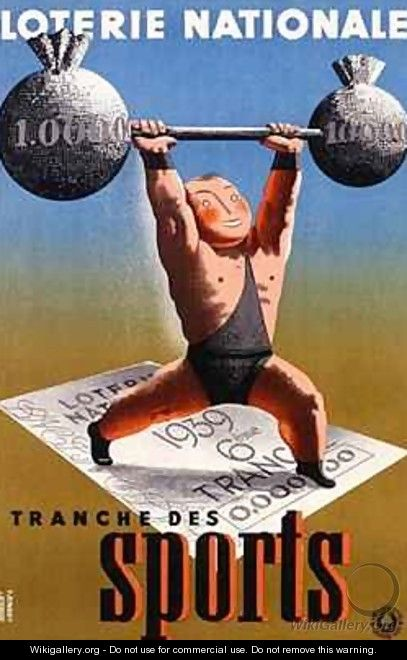 Poster advertising a French National Lottery special issue to help sports - Derouet-Lesacq