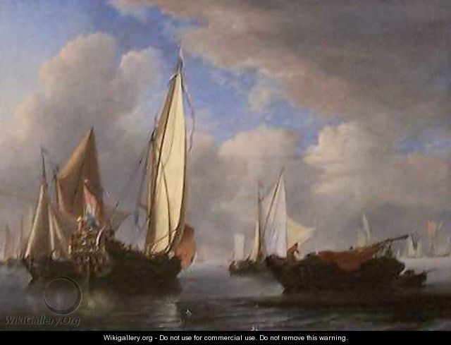 A Yacht and Other Vessels in a Cabin - Willem van de, the Younger Velde