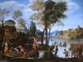 An Italianate River Landscape with Poling Boatman and a Woman with a Basket of Crabs - Domenichino (Domenico Zampieri)