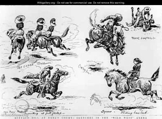 Sketches from Buffalo Bills Wild West Show at Earls Court - Alfred Chantrey Corbould