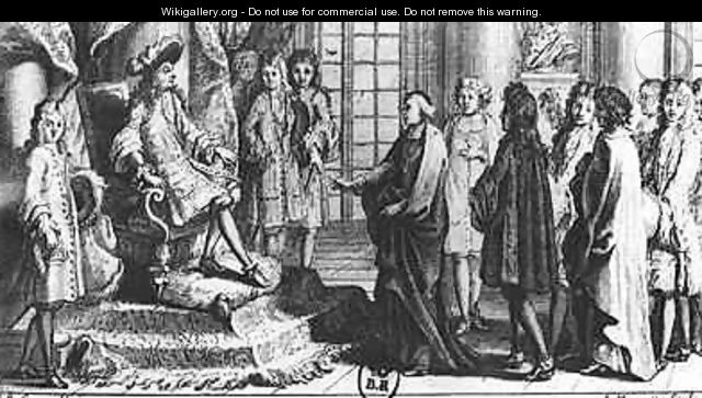 Members of the French Academy presenting the dictionary to Louis XIV 1638-1715 in 1694 - (after) Corneille, Jean-Baptiste