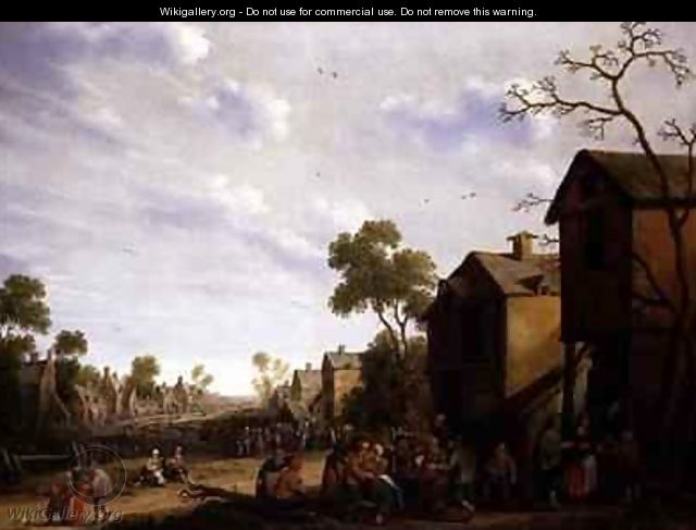 Village scene with peasants merrymaking - Joost Cornelisz