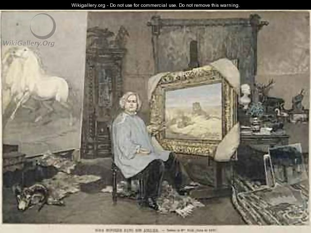 Rosa Bonheur 1822-99 in her studio - (after) Consuelo-Fould, Madame