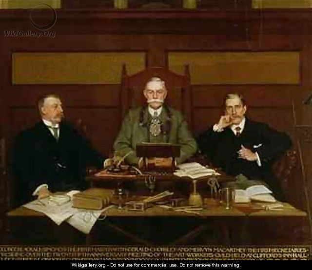 G Blackall Simonds with Gerald Horsley and Mervyn Macartney Presiding over the 25th Anniversary Meeting of the Art Workers Guild at Cliffords Inn Hall Fleet Street London - John Percy Cooke