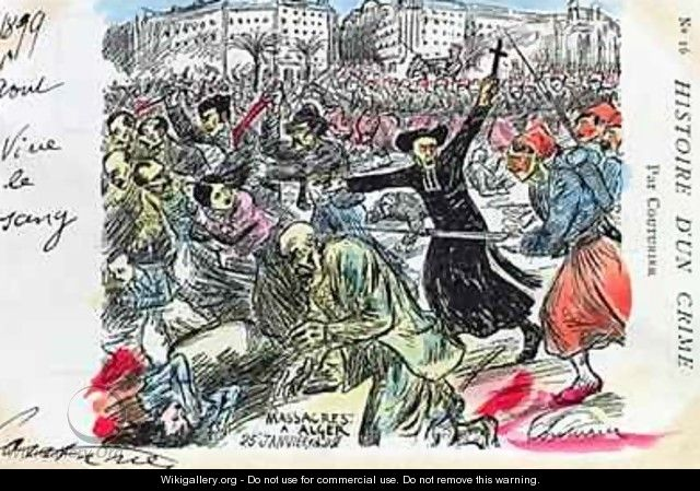Postcard depicting the massacre of the Jews in Algiers - E. Couturier