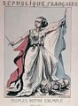 Personification of the French Republic as Louise Michel 1830-1905 trampling on the heads of Louis Adolphe Thiers 1797-1877 and Napoleon III 1808-73 - J. Corseaux