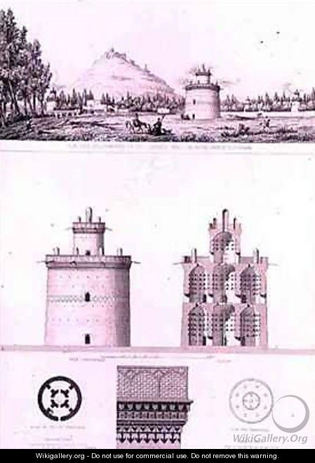 View and Details of a Dovecot in Isfahan - Pascal Xavier (after) Coste