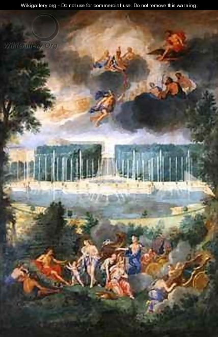 The Groves of Versailles View of the pool of Neptune and walkway with the Judgement of Paris - Jean II Cotelle