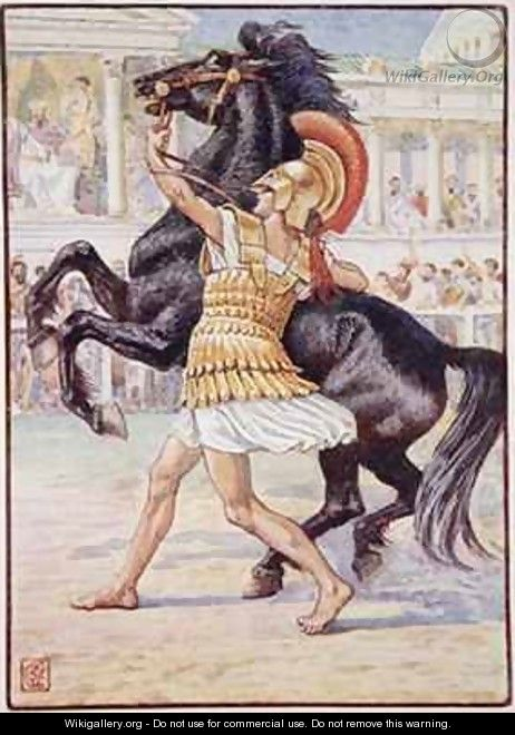 He ran towards the horse and seized the bridle - Walter Crane