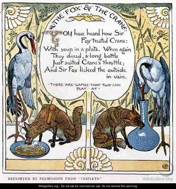 The Fox and The Crane - Walter Crane