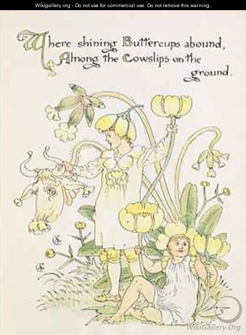 The Buttercup and the Cowslip from the Floras Feast - Walter Crane