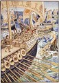 Ship dashed against ship till the Persian dead strewed the deep like flowers - Walter Crane