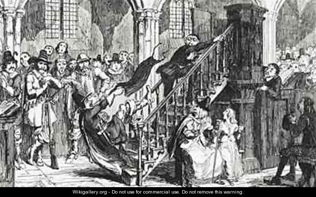 Reverend Holdenough during a Service - George Cruikshank I
