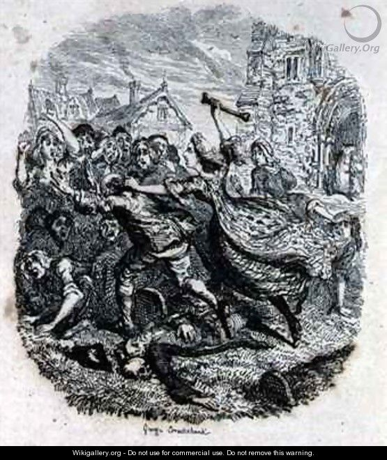 The Battle Royal in the Church Yard - George Cruikshank I