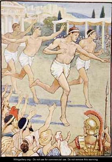 In earliest times a simple foot race was the only event - Walter Crane
