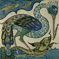 Tile design of heron and fish - Walter Crane