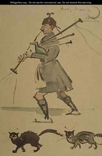Highlander Playing Bagpipes - Joseph Crawhall