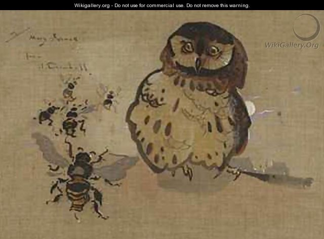 Owl and Bees - Joseph Crawhall