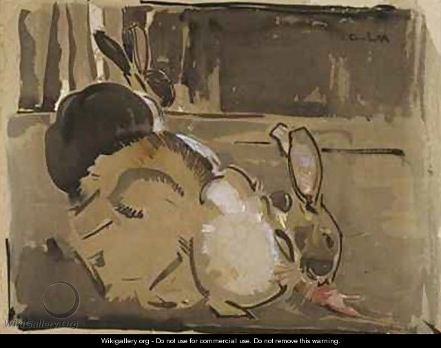 Two Rabbits One Eating Carrots - Joseph Crawhall