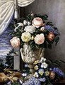 Flowers in a vase on a stone ledge - L. Cugnier