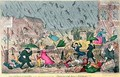 Very Unpleasant Weather or the Old Saying verified Raining Cats Dogs and Pitchforks - George Cruikshank I