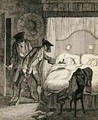 Jack and his accomplice Blueskin rob Mr Wood and his wife in their bedroom - George Cruikshank I