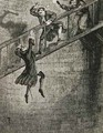 Jonathan Wild thief turned thief taker throwing Richard Trenchard down the well - George Cruikshank I