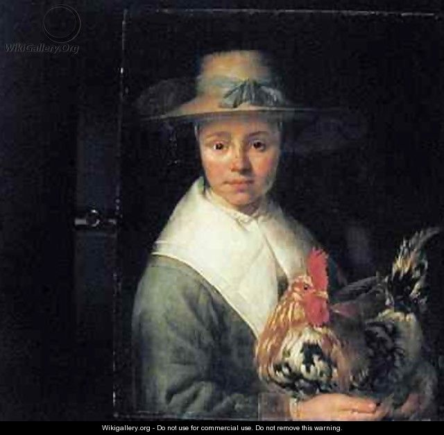 Girl with a Rooster - Jacob Gerritsz. Cuyp