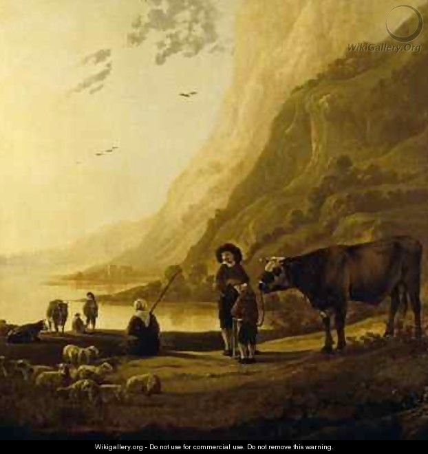 Landscape with a herdsman and bull - Aelbert Cuyp
