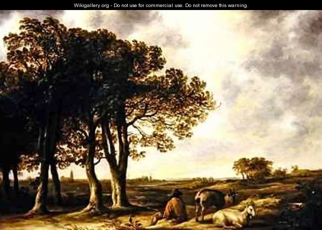 Goatherd in lanscape a distant view of Amsterdam - Aelbert Cuyp