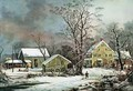Winter in the Country A Cold Morning New England - Currier