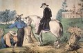 George Washington 1732-99 on his Mount Vernon estate with his black field workers in 1757 - Nathaniel Currier