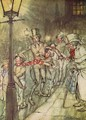 Bob Cratchit went down a slide on Cornhill, from A Christmas Carol - Arthur Rackham
