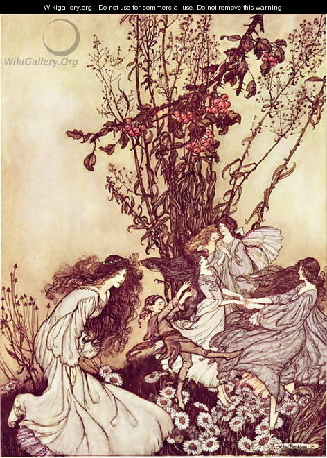 Dancing with the Fairies from Peter Pan in Kensington Gardens by J.M. Barrie, 1906 34 Peter Pan in Kensington Gardens by J.M. Barrie Dancing with the Fairies, 1906 - Arthur Rackham