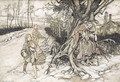 Children startled by a Witch - Arthur Rackham