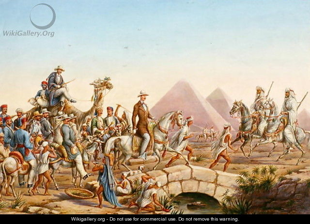Prince Albert of Prussia with his entourage touring the Pyramids at Giza - Johannes Rabe