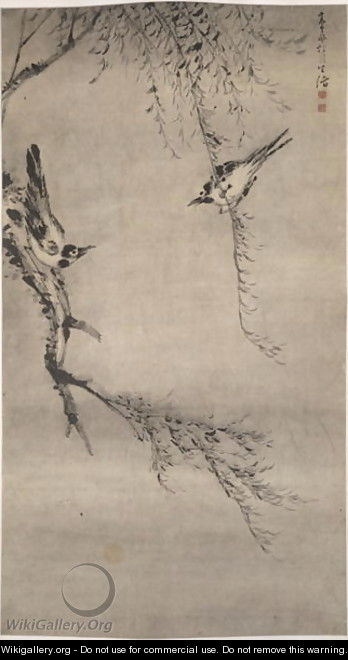 Two Magpies Playing in a Willow Tree, Qing Dynasty - Gao Qipei