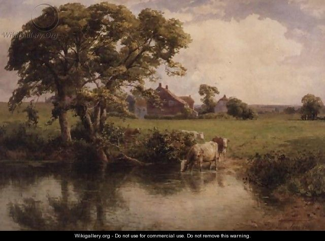 Cattle watering near a farmhouse - Thomas Pyne