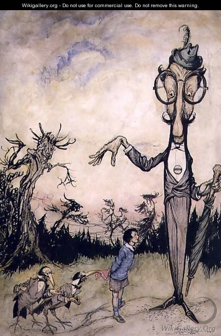 A Giant with a Child and Two Crows, illustration from The Book of Betty Barber by Maggie Brown, pub.1910 pen and ink, later coloured by Harry Rountree, 1878-1950 also an illustration for the Book of Nonsense by Edward Lear 1812-88 pub. 1980 - Arthur Rackham