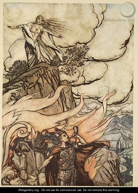 Siegfried leaves Brunnhilde in search of adventure, illustration from Siegfried and the Twilight of the Gods, 1924 - Arthur Rackham