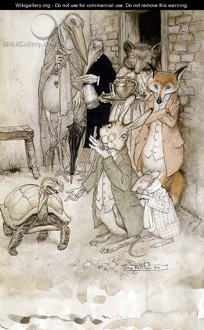 The Hare and the Tortoise, illustration from Aesops Fables, pub. by Heinemann, 1912 - Arthur Rackham