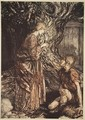 This healing and honeyed draught of Mead deign to accept from me, from The Rhinegold and the Valkyrie, 1910 - Arthur Rackham