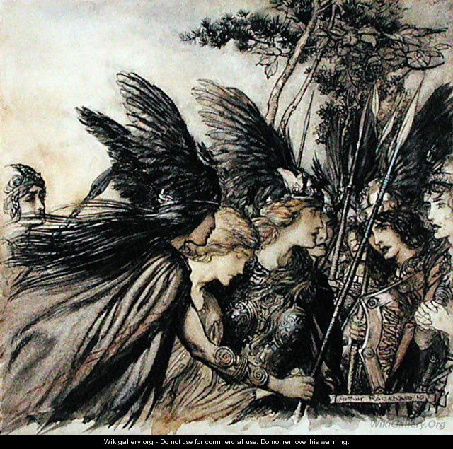 Brunnhilde Implores the Valkyries, illustration from The Rhinegold and the Valkyrie, by Richard Wagner, edition published 1910 - Arthur Rackham