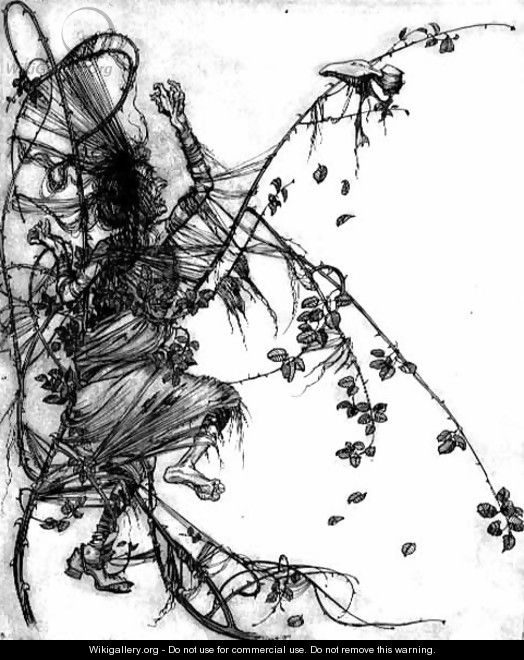 She had to dance whether she liked or not, illustration from Sweetheart Roland, a fairytale by the Brothers Grimm, 1900 - Arthur Rackham