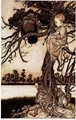 Talking to the Crow from Peter Pan in Kensington Gardens by J.M. Barrie, 1906 - Arthur Rackham