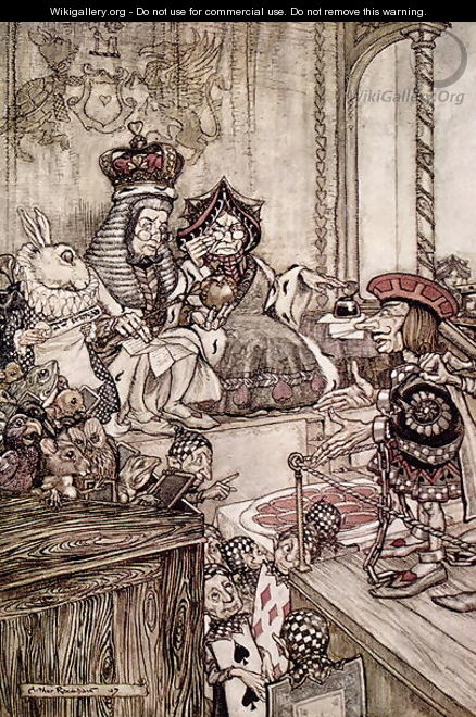 Knave before the King and Queen of Hearts, illustration to Alices Adventures in Wonderland by Lewis Carroll 1832-98 1907 - Arthur Rackham