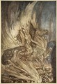 Brunnhilde on Grane leaps on to the funeral pyre of Siegfried, illustration from Siegfried and the Twilight of the Gods, 1924 - Arthur Rackham