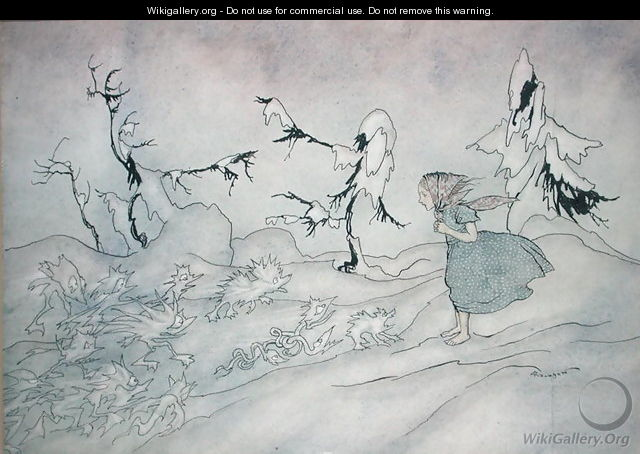 Gerda is terrified by the Snow Queens advance guard, but she said Our Father and is rescued by little bright angels, illustration from The Snow Queen by Hans Christian Andersen, published 1932 - Arthur Rackham